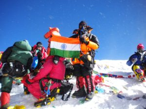 On the Top of Everest with Our Indian Flag
