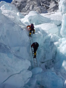 Crossing Khumbu Glacier