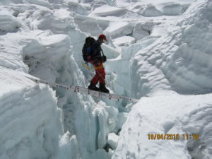 Crossing Crevasse on a Ladder